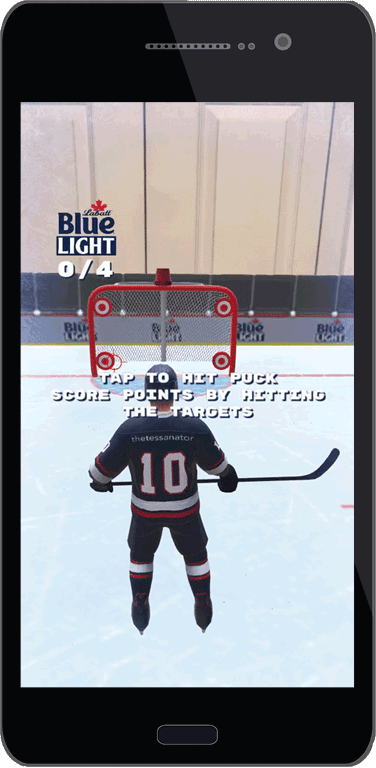 Example of the Home Hockey Game AR experience